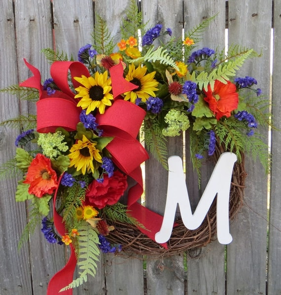 Door Wreath ,Summer Wreath,  Wreath for Spring, Wreath with Monogram, Wreath with Purple Yellow Red, Designer Etsy Wreath, Wreath
