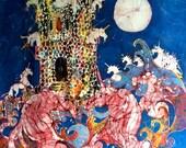 "Unicorns Take Castle -  batik fabric swatches from original batik - inspired by ""The Last Unicorn"""