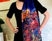 Horse - Catch the Wind    - Silky faille scarf  or shawl  -  women's fashion  -  from original batik -