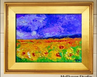 Grassland Sunflowers - Original Abstract Painting  Landscape  Painting by Claire McElveen , Available  Framed and Ready To Hang