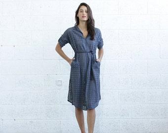 Pre Winter Sale 15% Embroidered Button down dress, Gray.