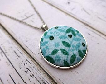 Fabric Pendant Necklace, Fabric Necklace, Pendant Necklace, Fabric Jewelry, Boho Necklace, Large Pendant, Teal Floral Necklace, Aqua Floral