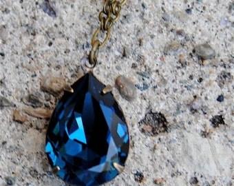 Navy Blue Tear Drop Necklace Navy Bridesmaid Pendant Necklace Swarovski Crystal Drop Necklace Montana Simple Bridesmaid Gift Wedding