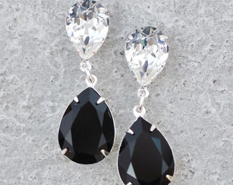 Black & White Earrings Swarovski Crystal Jet Clear Crystal Diamond Duchess Hourglass Rhinestone Dangle Stud Post Clip On Earrings Black Stud