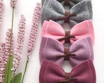 Baby Felt Headbands - Felt Bows - Baby Bows - Leather Knot Felt Bow - Nylon Headband - Bow Clip - Lavender Bow Headband - Felt Headband Bows