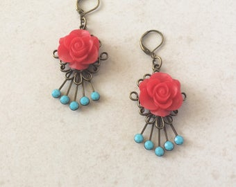 Red Rose Turquoise Rhinestone Southwestern Earrings, Mexican Turquoise Flamenco Red Flower Earrings