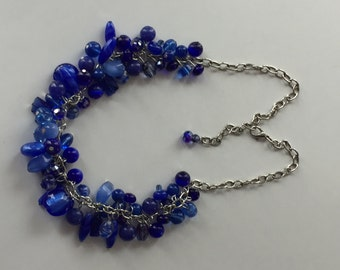 Cobalt blue glass pearl cluster necklace,  blue statement necklace