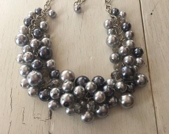 gray pearl chunky necklace- bridesmaids jewelry, wedding necklace