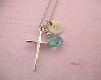 Customized Initial Cross Pendant with sterling silver chain, initial charm, and birthstone