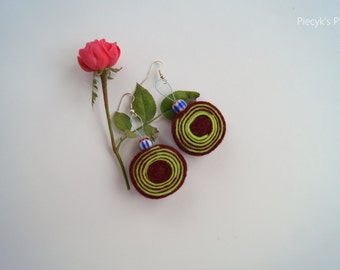 Swirly Felt Earrings - Maroon Neon Green with Ceramic Beads
