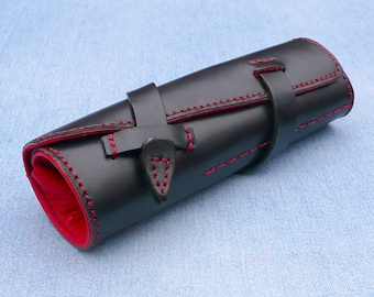 Pen Roll, leather pen roll, leather pen storage, leather pen holder, fountain pen roll, pen case, black and red, garny