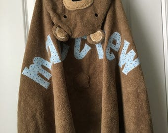 Personalized Hooded Towel- Teddy Bear