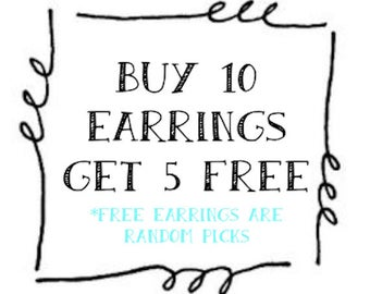 Buy 10 pairs of Earrings - Any style/color of our choice- Get 5 FREE earrings