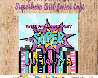 Pop Art COMIC BOOK Superhero Girl favor tags - YOU Print