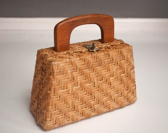Vintage Wicker Purse with a Wooden Handle