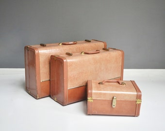 Vintage Pink and Gold Suitcase Set
