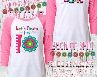 DOUBLE DIGITS Tenth birthday girls Fiesta Birthday Shirt Girls Mexican Birthday Shirt Tween Birthday Double Digits - Doble digitos