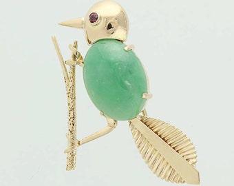 Jadeite & Ruby Bird Brooch - 14k Yellow Gold Pin .05ctw N4116