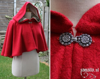 Little Red Riding Hood, Wool hood, cape or chaperon  (Larp, Reenactment, fantasy events, renfair, cosplay, dickens events) - <READY TO SHIP>