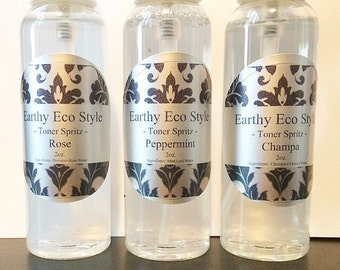 3 Pack Face Toner Spritz 2oz Champa Water Peppermint Water Rose Water - All Natural