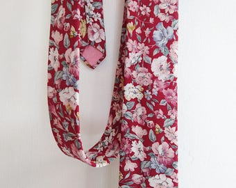 Burgundy pink and grey floral cotton neck tie, wedding neck tie, handmade classic width floral cotton neck tie, burgundy and pink floral tie