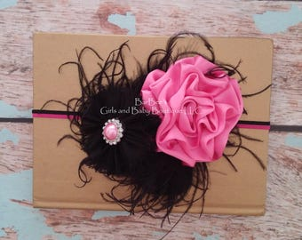 Hot Pink Satin Ribbon Flower with Black Chiffon Flower, baby girl, photo prop, other colors available