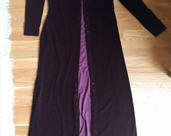 Purple Velvet Duster Coat and Maxi Dress