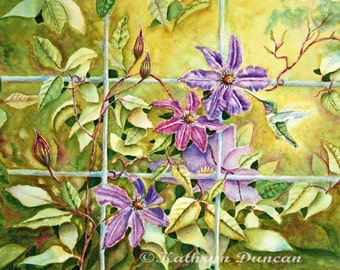 Original Watercolor Hummingbird & Clematis Flowers, Original Painting, Green, Violet, Yellow, matted to 16x20