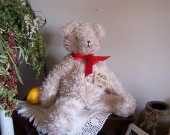 VTG 1970's Handmade Designer Teddy Bear-White Shaggy Fur Beanbag Salem Oregon