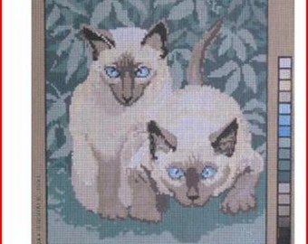 Large Needlepoint Canvas: Siamese Cat Pair