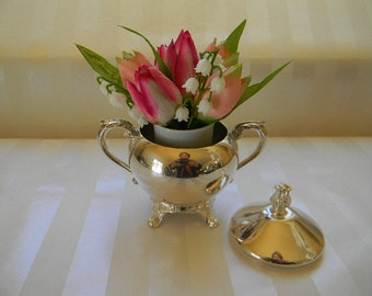 Vintage Silverplate, Covered, Footed Sugar Bowl, F. B. Rogers Silver Co.