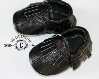 WOW! Black Fringes  Moccasins 100% genuine leather baby moccasins Mocs moccs