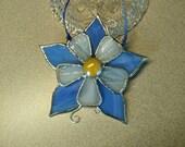 Blue Columbine Flower Stained Glass Suncatcher, Glass Flower, Art & Collectibles, Glass Art, Decorative Flower, Window Decor, Handmade Gift