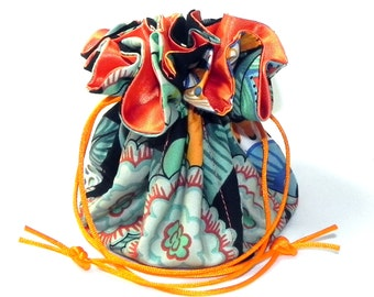 Jewelry Drawstring Travel Bag - Organizer Pouch - Orange, black, blue and mint green butterflies