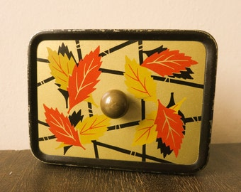 ANTIQUE German TIN BOX Vintage Art Deco Style old metal box autumnal leaf decor collectible home decor 1950s