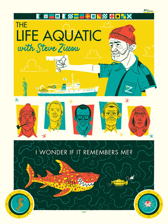 Life Aquatic Silkscreen Poster by Ian Glaubinger inspired by