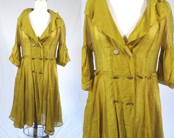 Vintage Romantic Boho Chartreuse Duster Maxi Dress Coat Jacket Semi Sheer. Gypsy Bohemian Gothic Victorian steampunk sm med