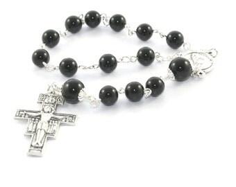 Pope Francis Pocket Rosary / Single Decade Catholic Rosary Beads, San Damiano Cross