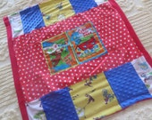 "Curious George patchwork block square ""George Was Here?"" style 2 . so soft red minky Baby blanket 31"" by 34"" . sewn by me"