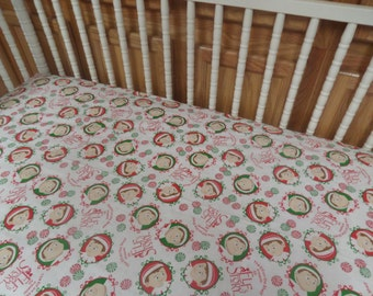 Elf on the Shelf . Holiday Baby Crib or Toddler Bed Cotton Fitted Sheet