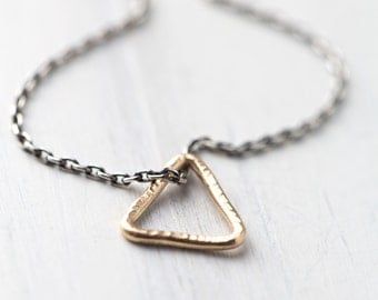 Simple Triangle Necklace Handmade, Modern Minimal Jewelry Gift, Sterling Silver & Gold Filled, Minimalist Rustic Necklace by Burnish
