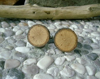 WOODEN Round CUFFLINKS From OAK Tree Branch Handmade Wooden Cufflinks