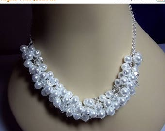 30% OFF SALE thru 5-31 Pearl and Crystal Cluster Necklace, Bridal Wedding Necklace Bridesmaid Jewelry Chunky Necklace Mothers Day Gifts Silv