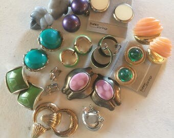 Earrings Clip Style Vintage De-stash lot 821