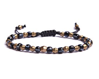 Blue beads bracelet for Men - Jewelry for Him - Bracelets for Men - Blue glass and brass beaded adjustable bracelet for men with gift box