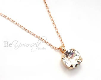 White Crystal Bridal Necklace Rose Gold Bride Necklace Swarovski Crystal Solitaire Necklace Wedding Jewelry Bridesmaid Gift Bridal Jewelry