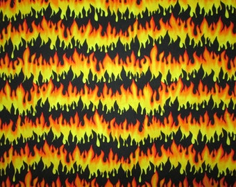 Wild Orange Yellow Black Fire Flames Cotton Fabric Fat Quarter or Custom Listing