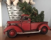RED PICKUP Metal TRUCK with Christmas Tree Tabletop Arrangement Farmhouse Rustic Decor Vintage Style Pick Toy