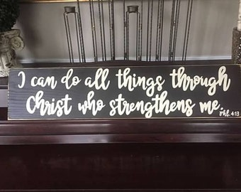 I Can Do All Things Through Christ Who Strengthens Me Sign Plaque CHRISTIAN Bible Verse Philippians 4:13