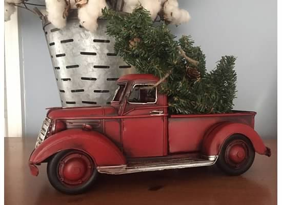 Lil' RED PICKUP Metal Truck with Christmas Tree Tabletop